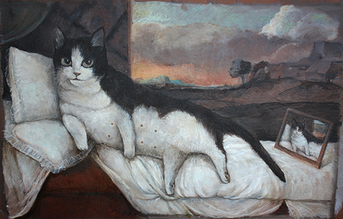 Nude Cat, 64x42, ulje na kartonu, 2009 (manji)_STIPAN TADIĆ